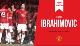 Ibrahimovic Man of The Match MU vs St. Eteinne 3-0 Liga Europa