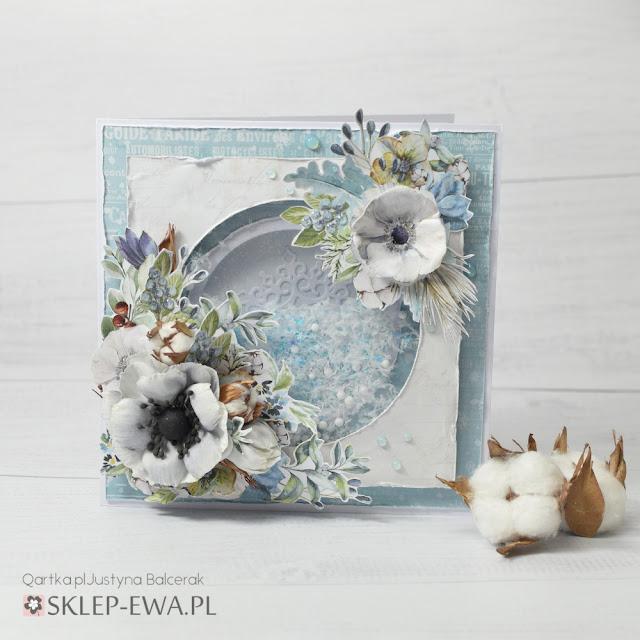 Zimowa kartka z shakerem i kwiatami bawełny+kursik foto na kwiaty bawełny