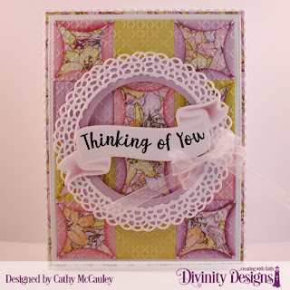 Stamp/Die Duos: Wavy Words, Paper Collection: Spring Flowers, Embossing Folder: Cross Stitch,, Custom Dies: Scalloped Rectangles, Pierced Rectangles, Quilted Window Squares, Fancy Circles, Circles
