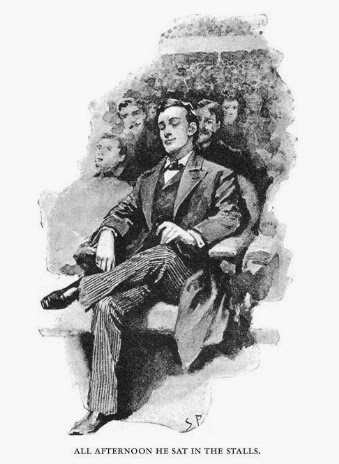 Sherlock Holmes enjoying music in Sidney Paget's illustration for The Adventure of the Red Headed League