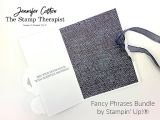 This birthday card uses Stampin' Up!'s Fancy Phrases bundle to create a side tag topper closure card.  Instructions are in the video!  Click for link.  The die is from Smooth Sailing, the designer paper is In Good Taste, and the ribbon is the Denim Trim.  #StampinUp #StampTherapist
