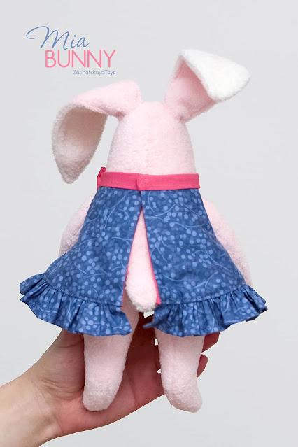 back view of pink bunny stuffed animal