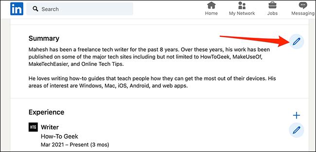 انقر فوق رمز القلم الرصاص بجوار قسم على شاشة أداة إنشاء السيرة الذاتية في LinkedIn.