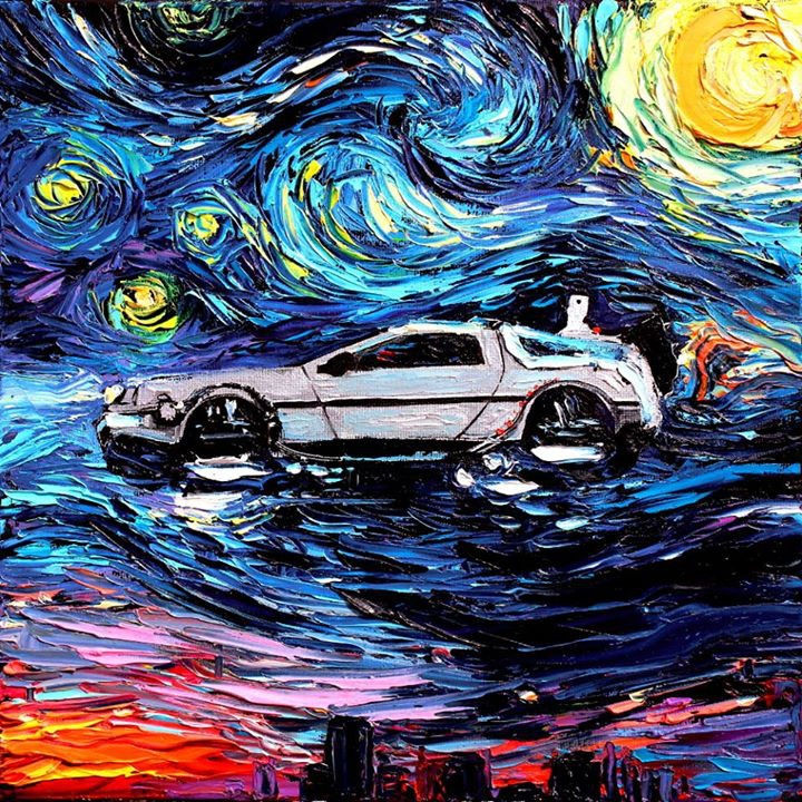03-Delorean-Back-to-the-Future-Aja-Trier-Vincent-Van-Gogh-Paintings-and-a-Sprinkle-of-Pop-Culture-www-designstack-co