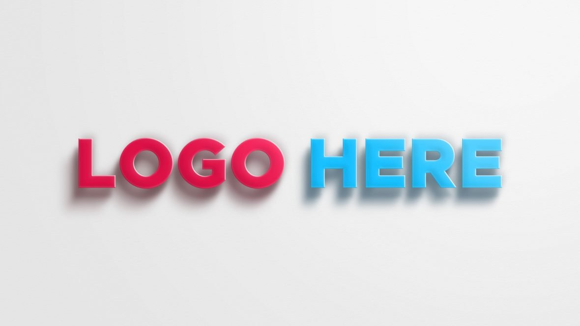 3D Logo Mockup With Realistic Shadow