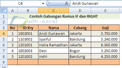 IF and RIGHT function in Excel