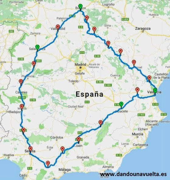 Recorrido a realizar por España en bici