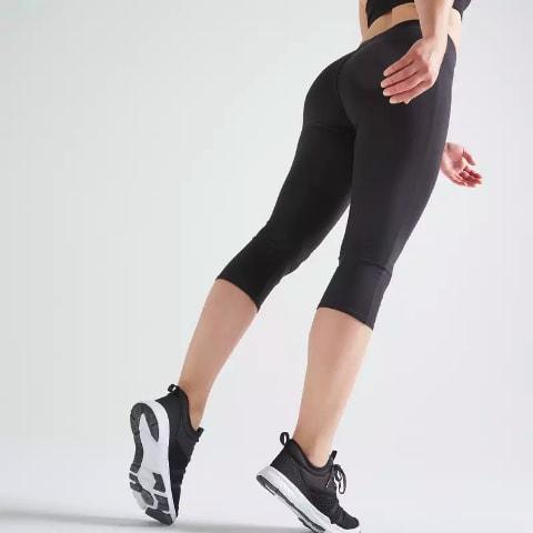 Colanți Fitness 100 negri de dama DOMYOS