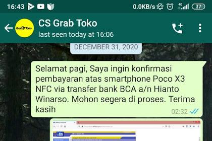 Bukti Transfer & Bukti Chat CS grabtoko.com Dengan Korban - A.N Hianto Winarso Dari Depok