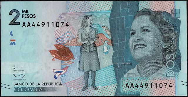 Colombia Currency 2000 Pesos banknote 2016 Painter Debora Arango Pérez