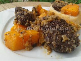 receta malagueña de calabaza frita con morcilla