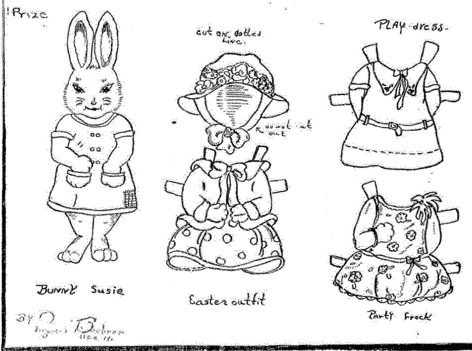 animal coloring pages doll place | Mostly Paper Dolls: A RABBIT A DAY . . . Miss Susie