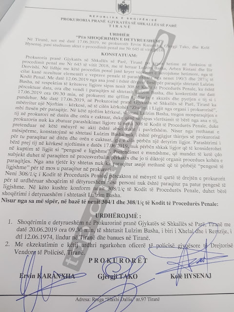 Tirana Prosecution demands the compulsory detainment of Lulzim Basha