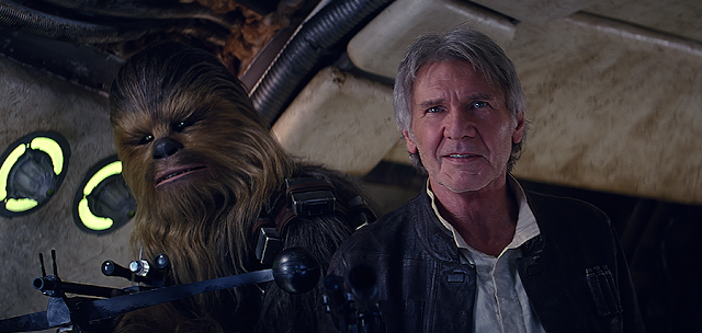 Chewbacca şi Han Solo în Star Wars: The Force Awakens
