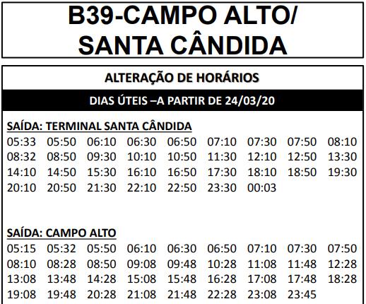 Horário de ônibus B39 CAMPO ALTO/ SANTA CÂNDIDA 2020