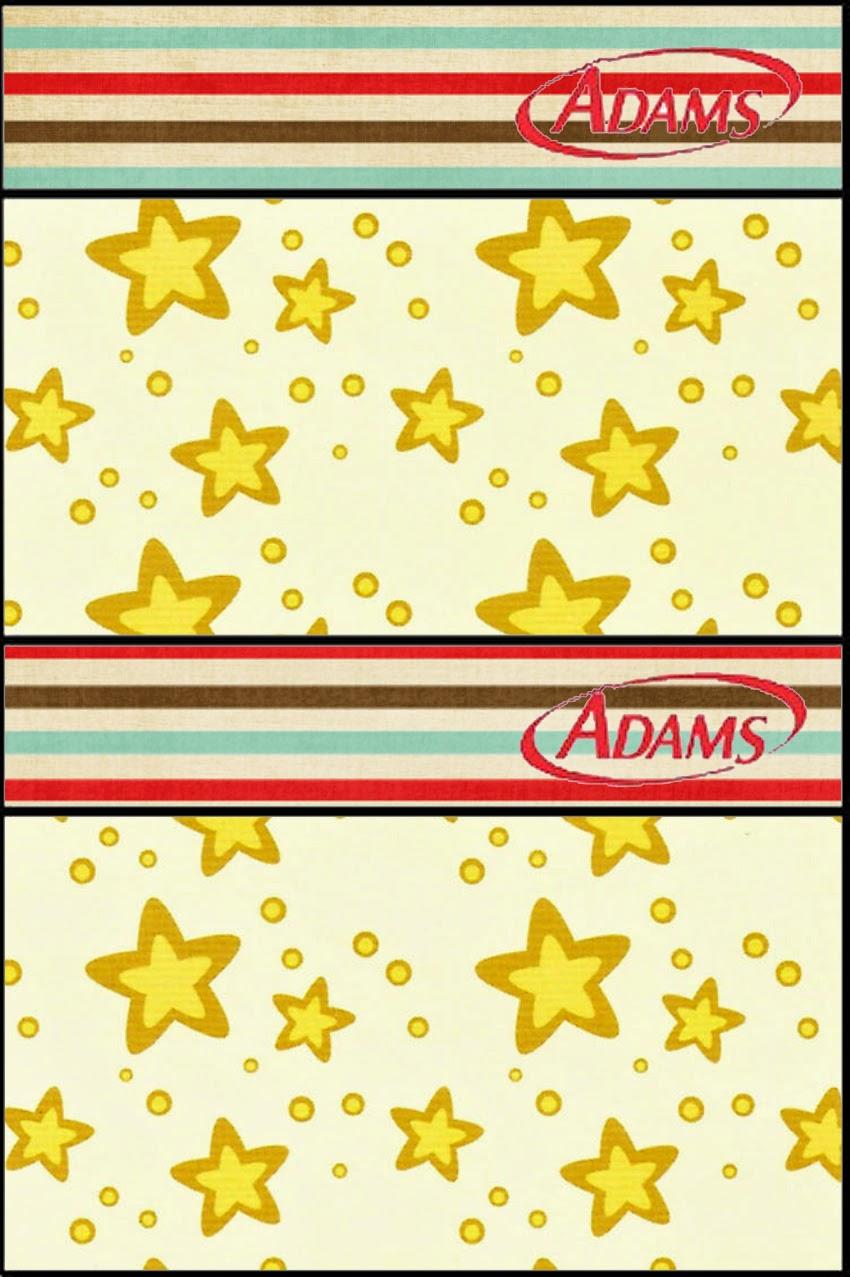 Etiqueta Golosina Adams para Imprimir Gratis de Estrellas Doradas y Rayas de Colores.