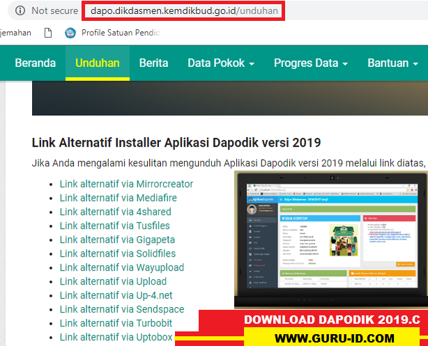 GAMBAR DOWNLOAD APLIKASI DAPODIK 2019.C
