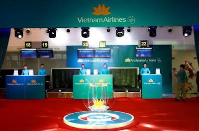 Quầy làm thủ tục của Vietnam Airlines tại nhà ga Quốc tế T2 Đà Nẵng