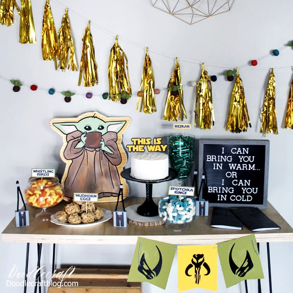 The Child baby yoda inspired birthday party decorations, fun food and party favors diy.