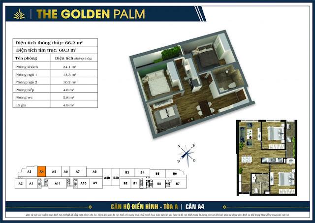 Thiết kế căn hộ A04 tòa A chung cư THE GOLDEN PALM
