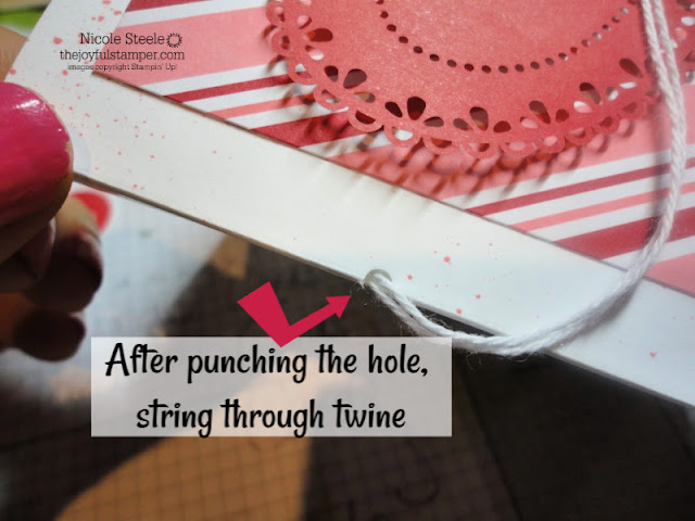 Punching tip for tying ribbon through card fold
