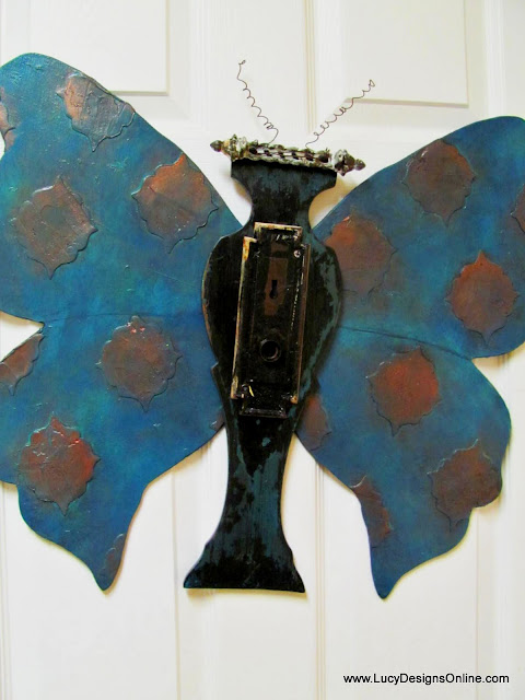 recycled art butterfly with verdigris finish