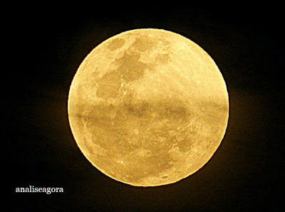 A foto mostra a Lua nascendo grandiosa em noite de Super Lua.