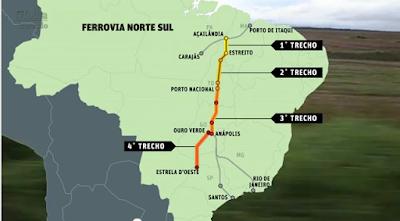 Mapa do Brasil com a Ferrovia Norte-Sul