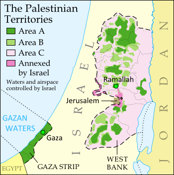 Map of the State of Palestine in the West Bank and Gaza Strip, including both its claimed borders (the Green Line) and zones of actual control (Areas A, B, and C from the Oslo Accords)
