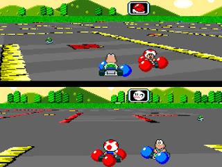 Captura SNES Super Mario Kart del modo Batalla con globos azules y rojos alrededor de los karts