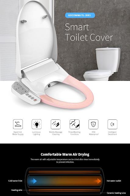 GOCOMMA YL - 2001 Waterproof Smart Toilet Cover EU Plug