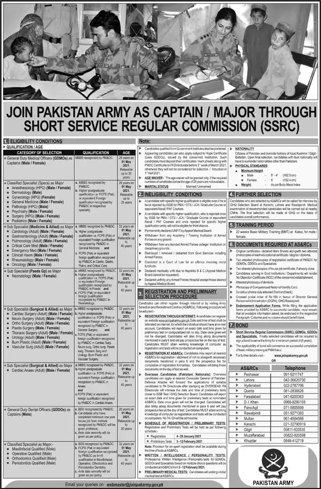 Join Pakistan Army as GDMO / Specialist Doctors 2021 through Short Service Regular Commission Online Apply