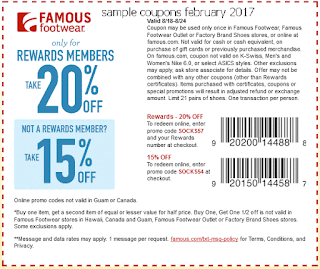 free Famous Footwear coupons february 2017