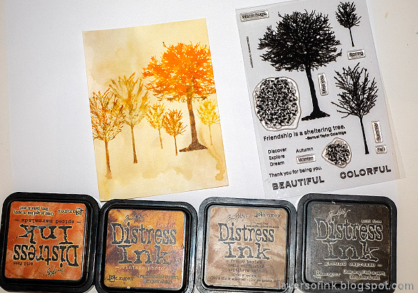 Layers of ink - Autumn Trees Card by Anna-Karin Evaldsson.