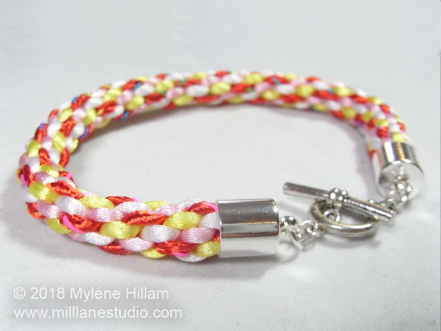 8-strand basic Kumihimo braid worked in candy colours and made into a bracelet