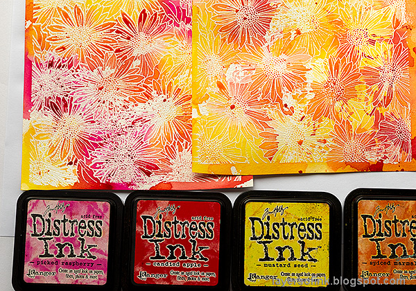 Layers of ink - Gerbera Daisy Watercolor Cards by Anna-Karin Evaldsson. Color with Distress Ink.