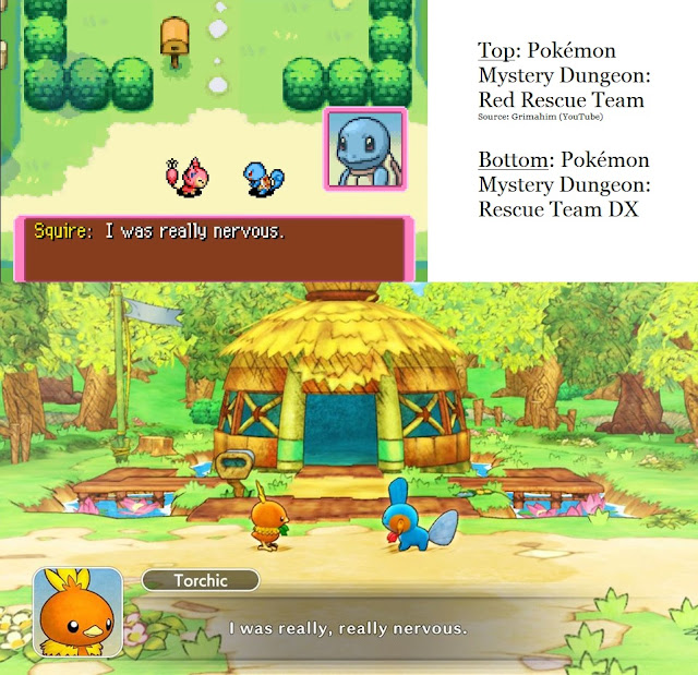 Pokémon Mystery Dungeon Red Blue Rescue Team DX Game Boy Advance Nintendo Switch graphics art style comparison side-by-side