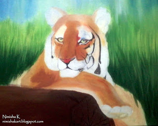tiger oil painting by nimisha k