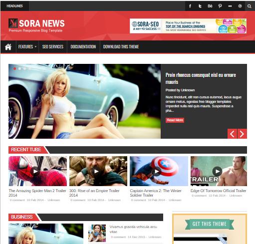 Sora-news Responsive Blogger Template Free Download