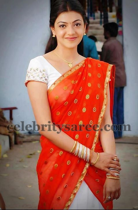 Kajal in Orange Half Saree - Saree Blouse Patterns
