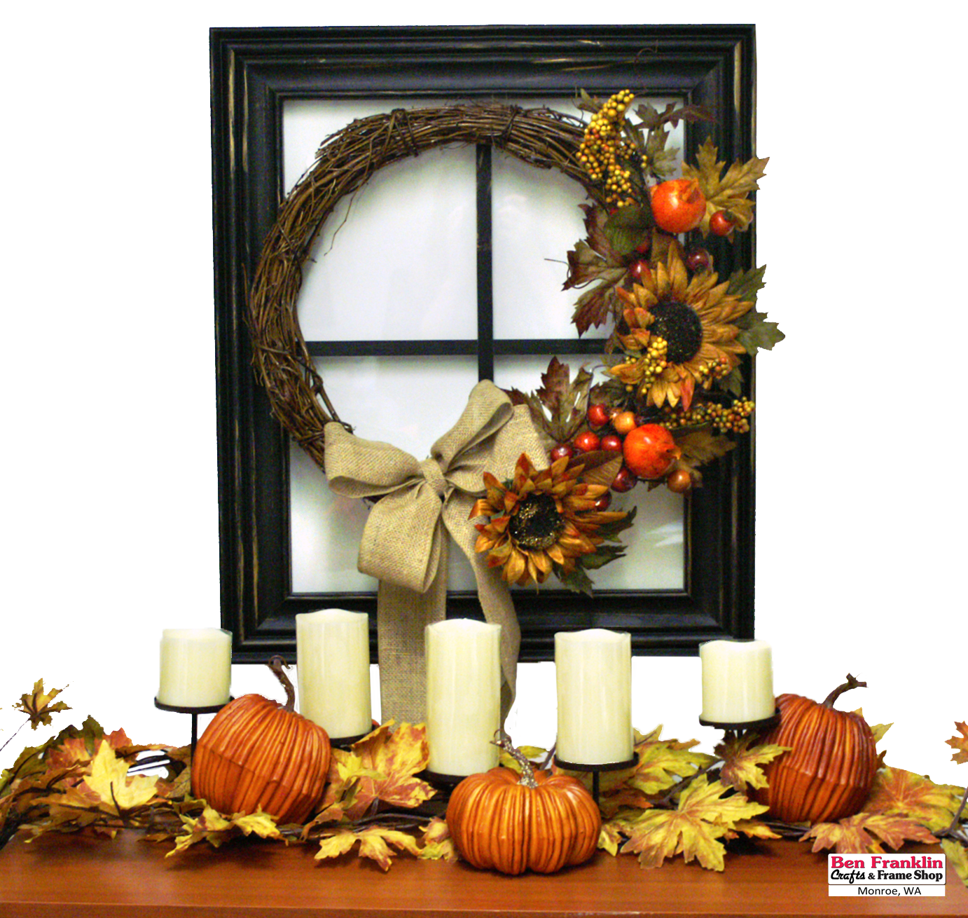 Ben franklin crafts and frame shop monroe wa fall for Autumn window decoration