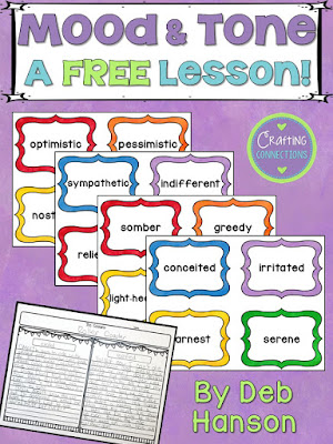 This free mood and tone activity features vocabulary words, a writing activity, and an author's tone anchor chart.