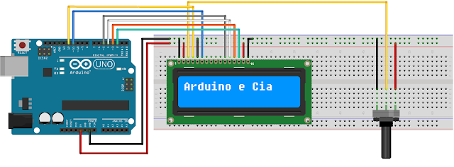 Ligacao LCD 16x2 HD44780 Arduino Uno