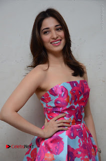 Actress Tamanna Latest Images in Floral Short Dress at Okkadochadu Movie Promotions  0101.JPG