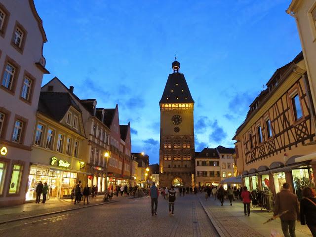 Clocktower in Speyer Germany after dark