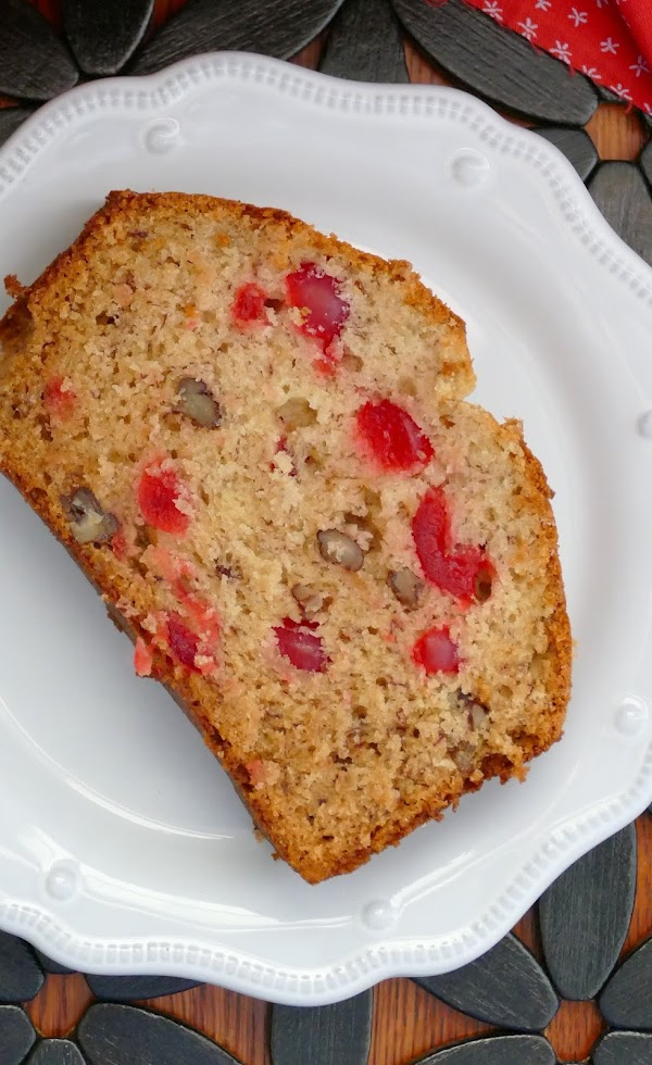 This delicious and easy quick bread is such a great way to use those ripe bananas! The maraschino cherries and pecans add so much flavor and it's great for breakfast, snack, the lunchbox or dessert!
