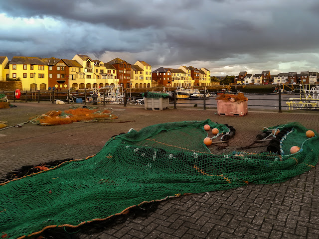 Photo of fishing nets drying at Maryport harbour