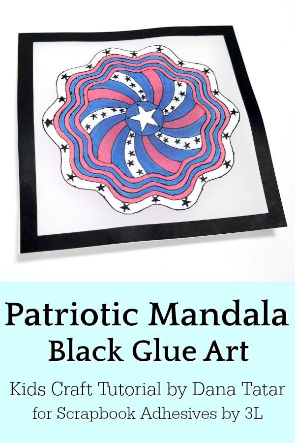 Red White and Blue Black Glue Patriotic Mandala Artwork on Vellum