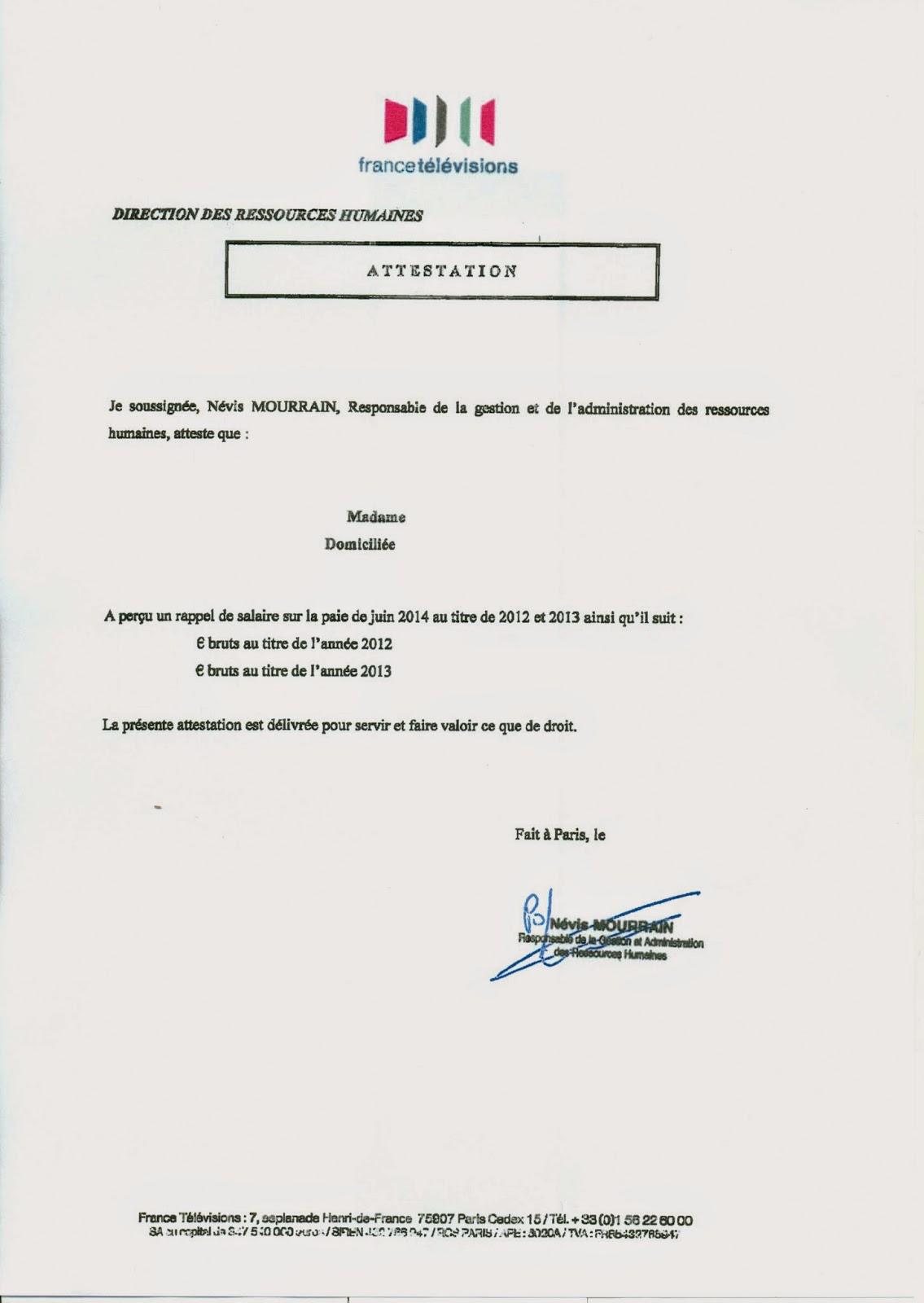Modele Attestation Employeur Net Fiscal Document Online