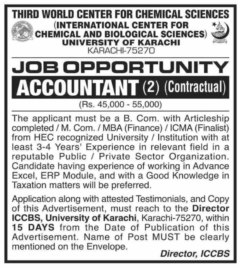 University Of Karachi Latest Jobs Advertisement in Pakistan Jobs 2021-2022